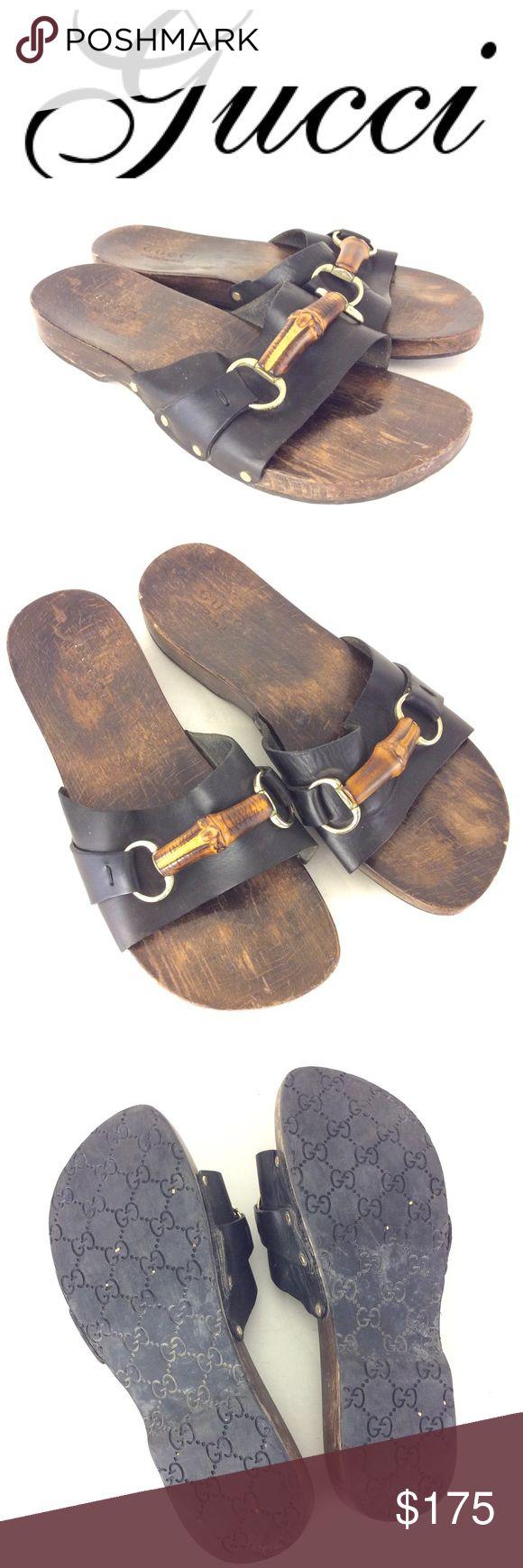 GUCCI horsebit wood Sandals 9.5 10 men's Guaranteed Authentic  brown leather wood sandals by GUCCI. No size tag . Should fit men's 9.5 10. Gucci Shoes Sandals & Flip-Flops