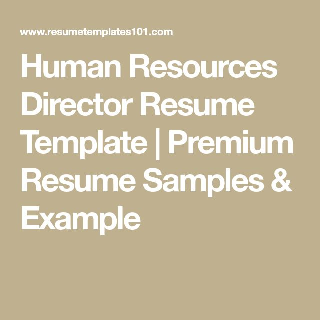Human Resources Director Resume Template | Premium Resume Samples & Example