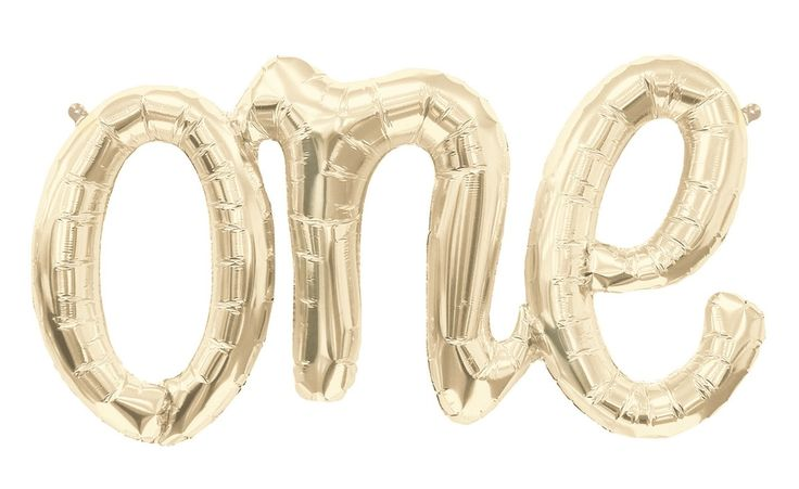 """One Script 30"""" Foil Balloon - White Gold - Perfect for a 1st birthday"""