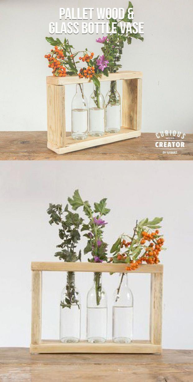 Pallet Wooden & Glass Bottle Vase