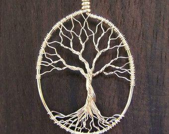Sauce árbol miniatura de plata esterlina sólida  árbol de la