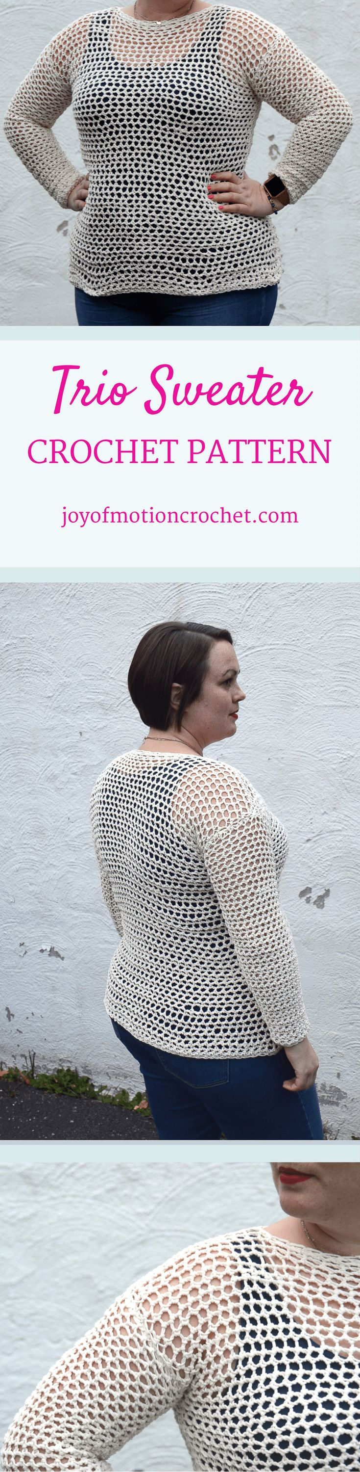 The Trio Sweater a crochet pattern. Woman's sweater crochet pattern with skill level beginner. Make this fashionable crochet sweater with you own hook & yarn. Sweater crochet pattern beginner for her . Crochet sweater | woman's crochet sweater | crochet pattern for her | fashionable crochet sweater | interesting crochet sweater | click to learn more or repin to save it forever. via @http://pinterest.com/joyofmotion/