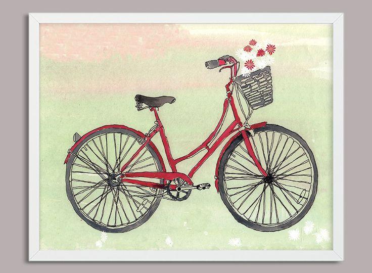 Vintage Bike Digital Download, Printable Art, Watercolour  Retro Bike, Red bike, A4 Print, Handmade, by PaperJamink on Etsy