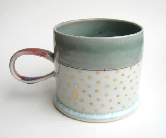 MADE TO ORDER Gold Polka Dot Porcelain Mug by SilverLiningCeramics