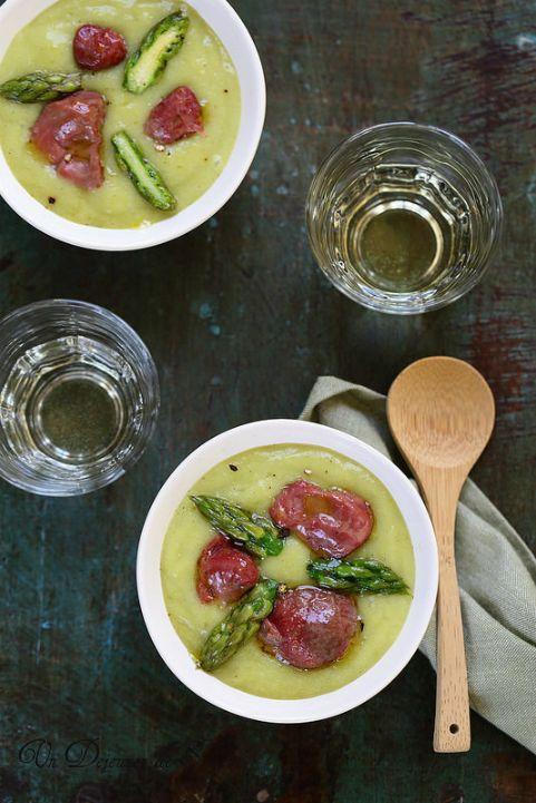 Soupe veloutée de pommes de terre, asperges et gésiers de volaille confits + vidéo ©Edda Onorato