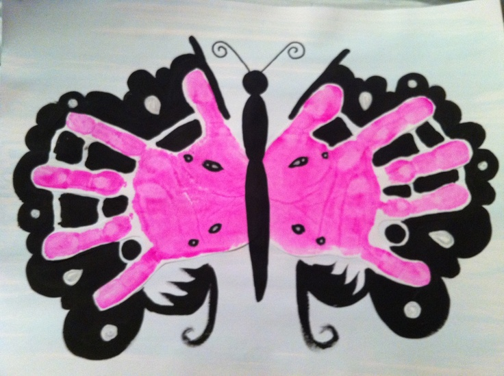 17 best images about handprint art on pinterest crafts for Butterfly hands craft