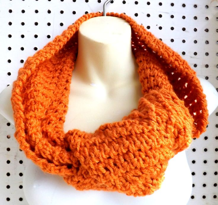 Crochet Scarf Crochet Infinity Scarf Crochet Cowl Scarf Ribbed Scarf Orange Scarf KNOT Scarf WInter Scarf 45.00 USD by #strawberrycouture on #Etsy - MUST SEE!