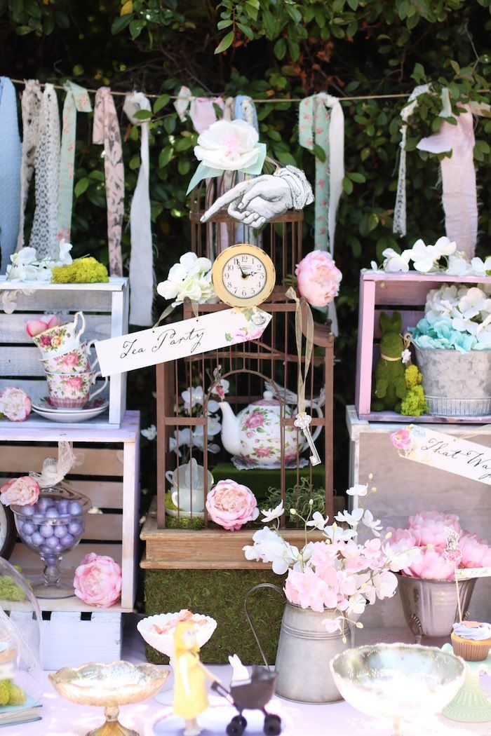 Tea party decor from Shabby Chic Alice in Wonderland Baby Shower at Kara's Party Ideas. See the whole party at karaspartyideas.com!