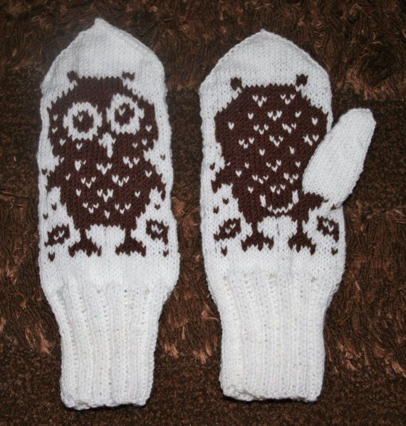 Handmade knitted owl mittens brown white owl by SoSoftBoutique