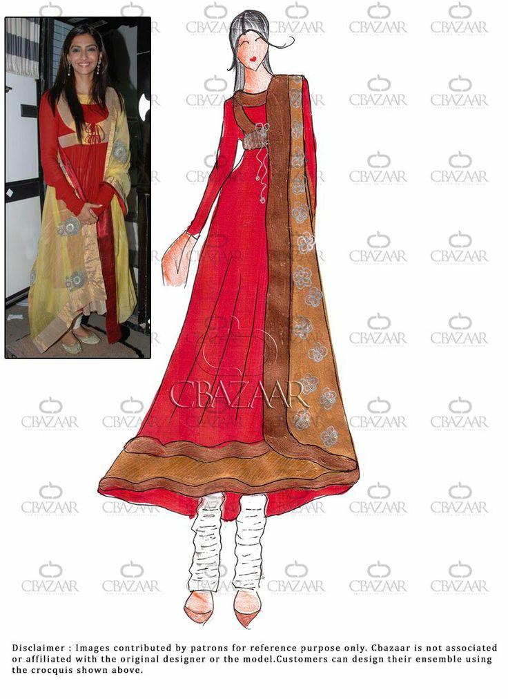 #Diy Red #Georgette #SonamKapoor Kalidar Suit