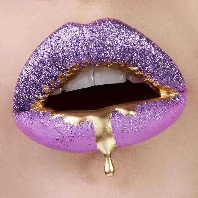 # PURPLE SPARKLE W/ GOLD LIP ART
