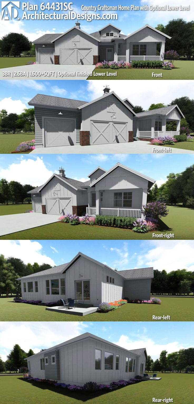 Architectural Designs Country Craftsman House Plan 64431SC