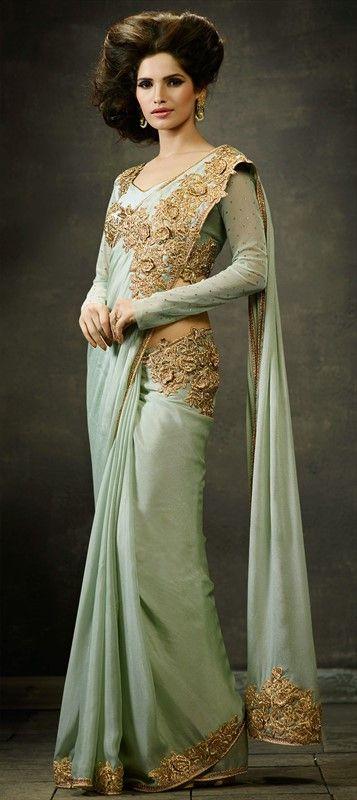 sea green crepe silk designer saree
