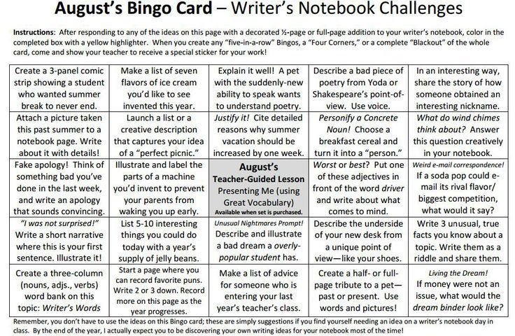 """The center-square lesson on our August Writer's Notebook Bingo Card (http://corbettharrison.com/documents/Writers_Notebook_Bingo_Aug_Sept.pdf)--when you purchase the entire set--has a hyperlink to our """"Presenting Me"""" mural lesson, which we use to decorate our hallways. There are three themes now: HEADS, HANDS, & HEARTS. See next three pins to access my teacher models for all three murals! Student samples for the heart version...coming soon!"""