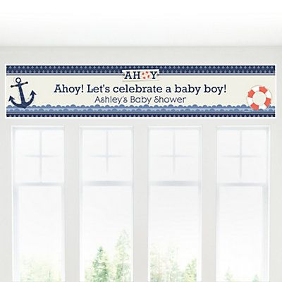 Ahoy - Nautical - Personalized Baby Shower Banners - BabyShowerStuff.com
