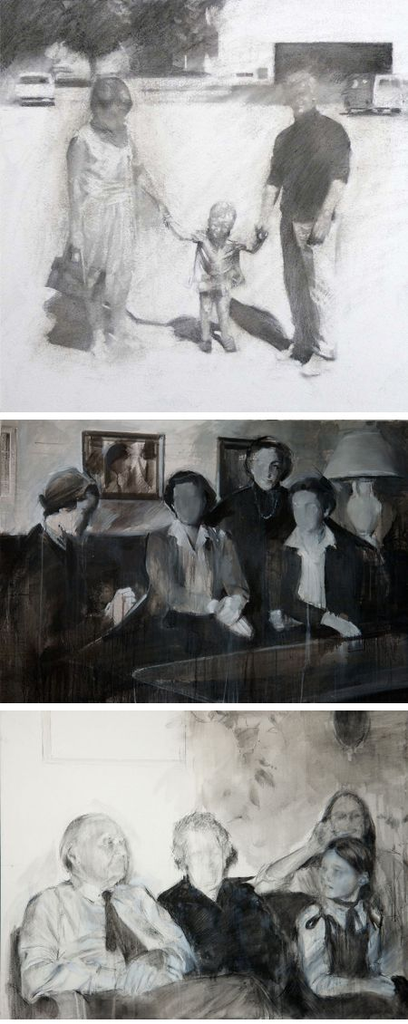 Drawings from old photos by artist Miquel Wert