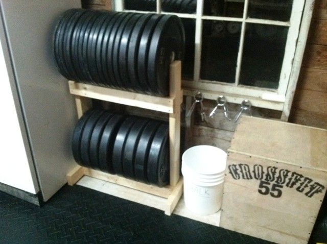Diy bumper plate storage for the home crossfit garage gym diy
