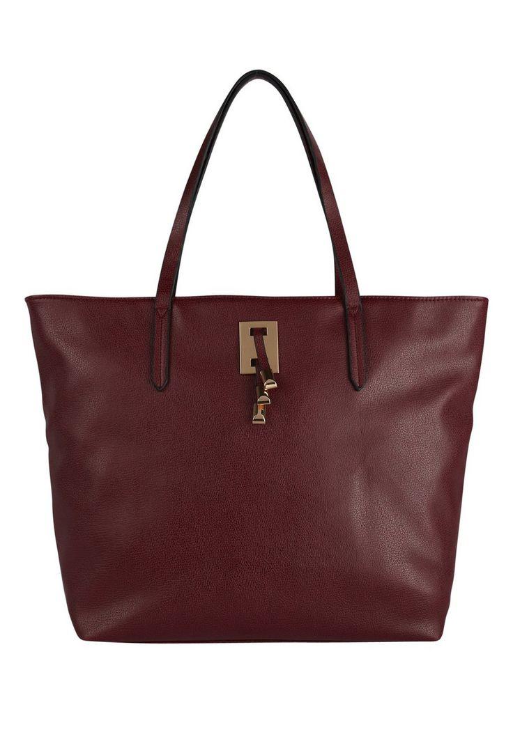 Clothing at Tesco | F&F Gold Toggle Trim Tote Bag - Burgundy