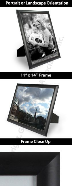 11 x 14 Plastic Picture Frame for Tabletop or Wall - Black