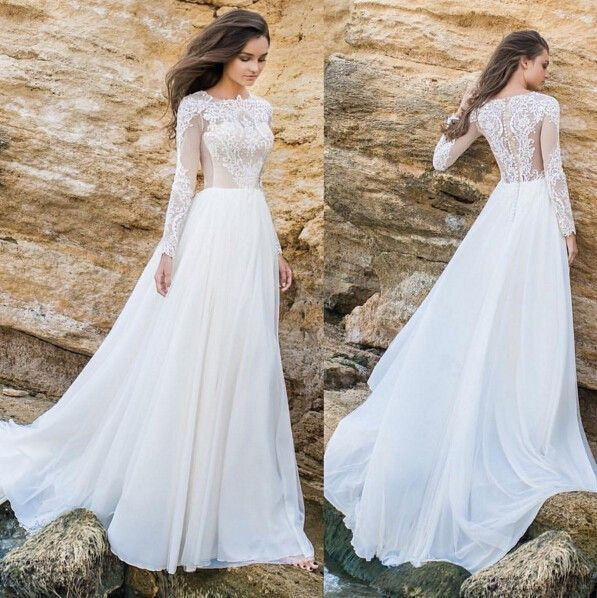 Elegant Lace Applique Tulle Chiffon A Line Simple Long Sleeves Formal Beach Wedding Dresses Plus Size