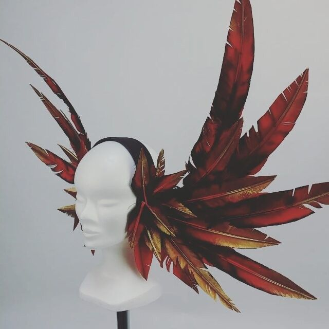Fire Phoenix headdress. I painted each feather to resemble a flame that rises…