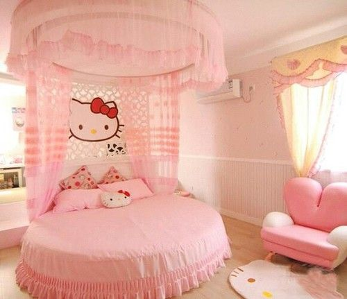pink, hello kitty, and bedroom image