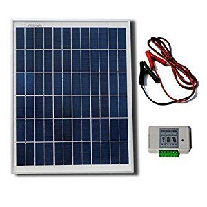 Solar Panel Kit.  20 Watt polycrystalline solar panel and battery clips, 3A charge controller.  Used for running DC devices: fan, linear actuator for a portable chicken coop, LED light, etc.   http://www.farmersmarketonline.com/solar.htm
