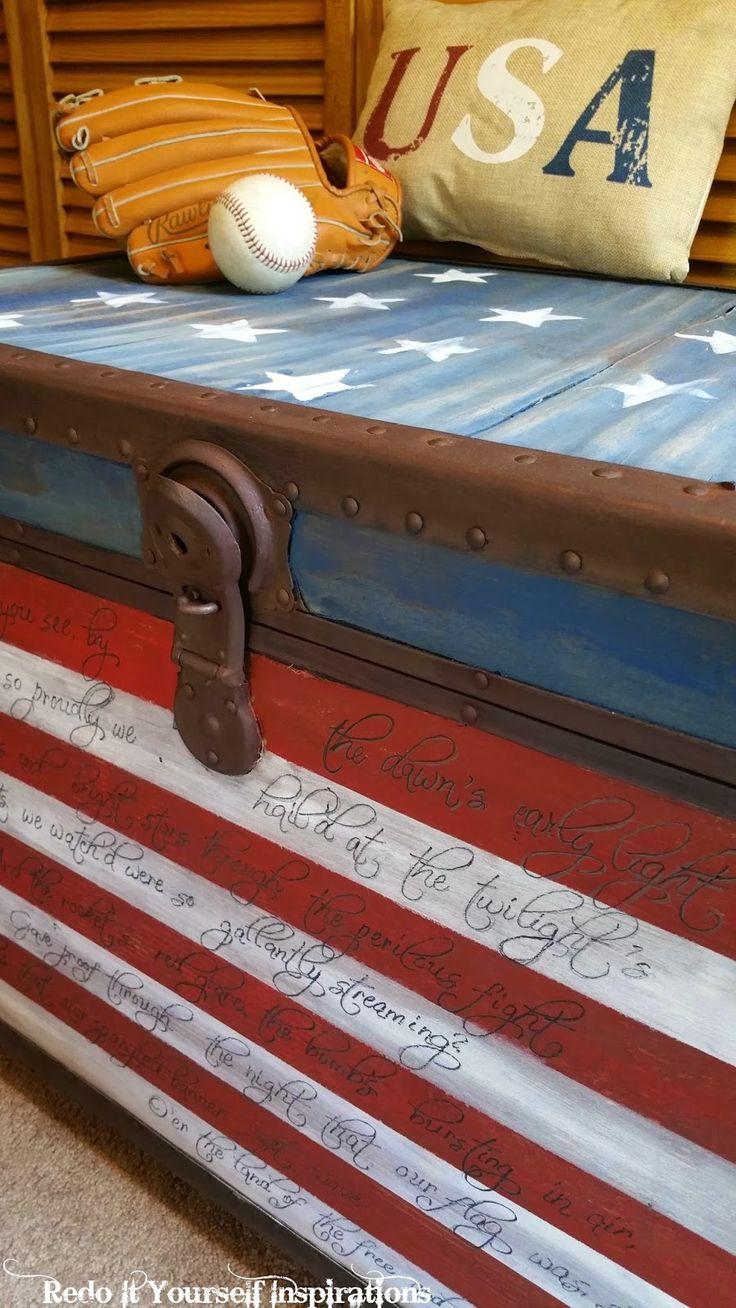 Painted Flag Trunk #DIY #furniturepainting #starsandstripes #americanflag #antiquetrunk #homedecor - www.countrychicpaint.com/blog