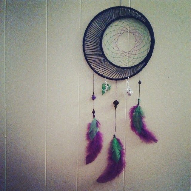 """7"""" Black, Lime-Green, & Purple Crescent Dream Catcher with sea glass, mermaid, and sea turtle charms."""
