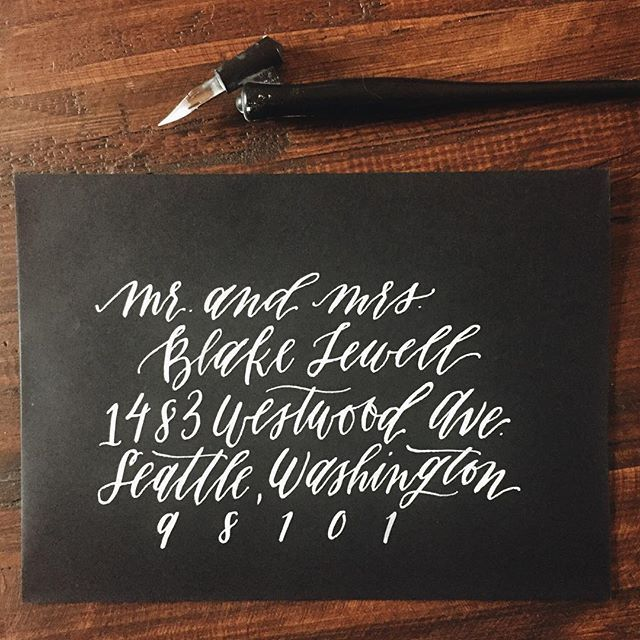 Pretty Black and White Calligraphy Envelope from Eleven and West - Wedding Envelope Addressing