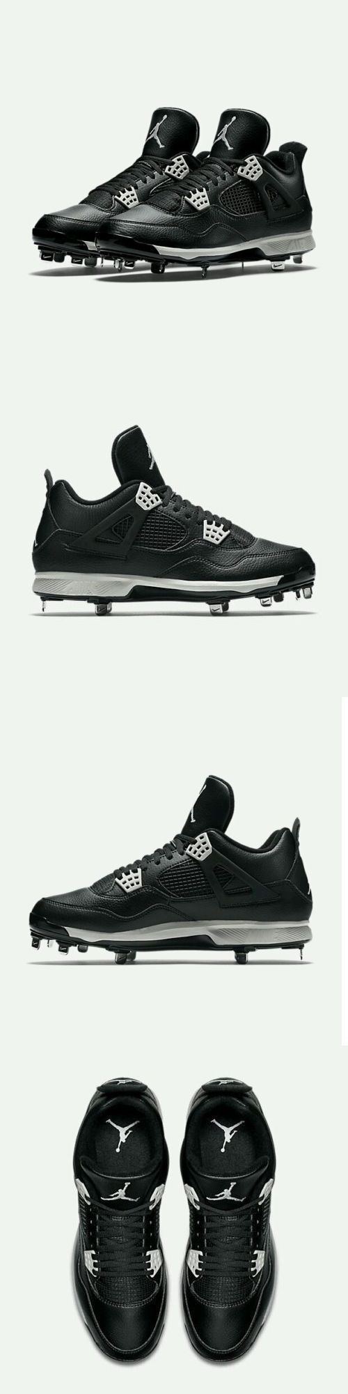 Mens 159059: Nike Air Jordan Iv 4 Retro Metal Baseball Cleats Black Grey Sz 9.5 (807710-010) -> BUY IT NOW ONLY: $54.99 on eBay!