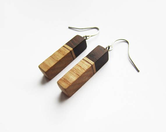 Wooden earrings natural palisander wood ash wood