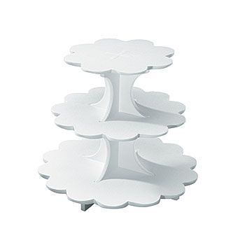 The Sweet Server features three Styrofoam tiers. Each Sweet Server holds thirty-two to forty-eight cupcakes. The overall height is 11 1/2 inches high.