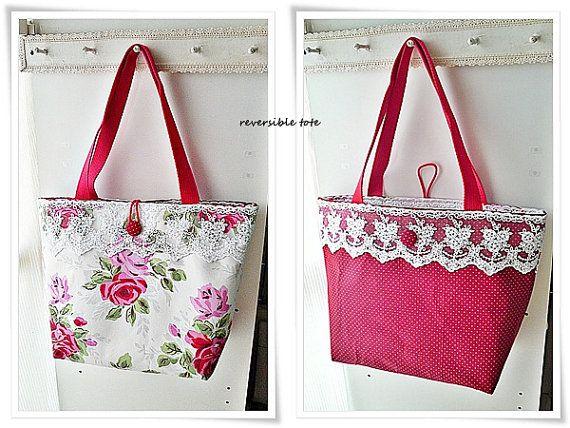 Large reversible red tote bag with wide by KawaiiSakuraHandmade
