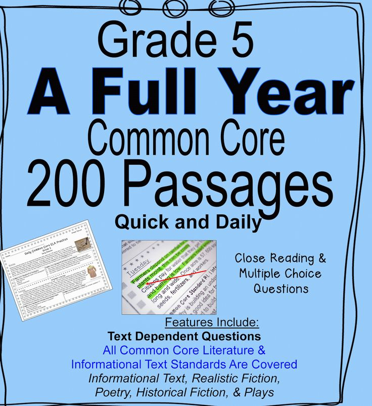 200 Quick and Convenient, Daily Common Core Reading Passages--Text Dependent Questions, Close Reading, Multiple Choice, Informational Text--- The Standard is Written Next to Each Question for Easy Progress Monitoring--Inferences, Main Idea,  Compare and Contrast Themes, Summarizing, Point of View--All Common Core Literature and Informational Text Standards are Included--Many Standards Repeat Across the Weeks For Steady Common Core Review--Written at Different Levels of Bloom's Taxonomy$