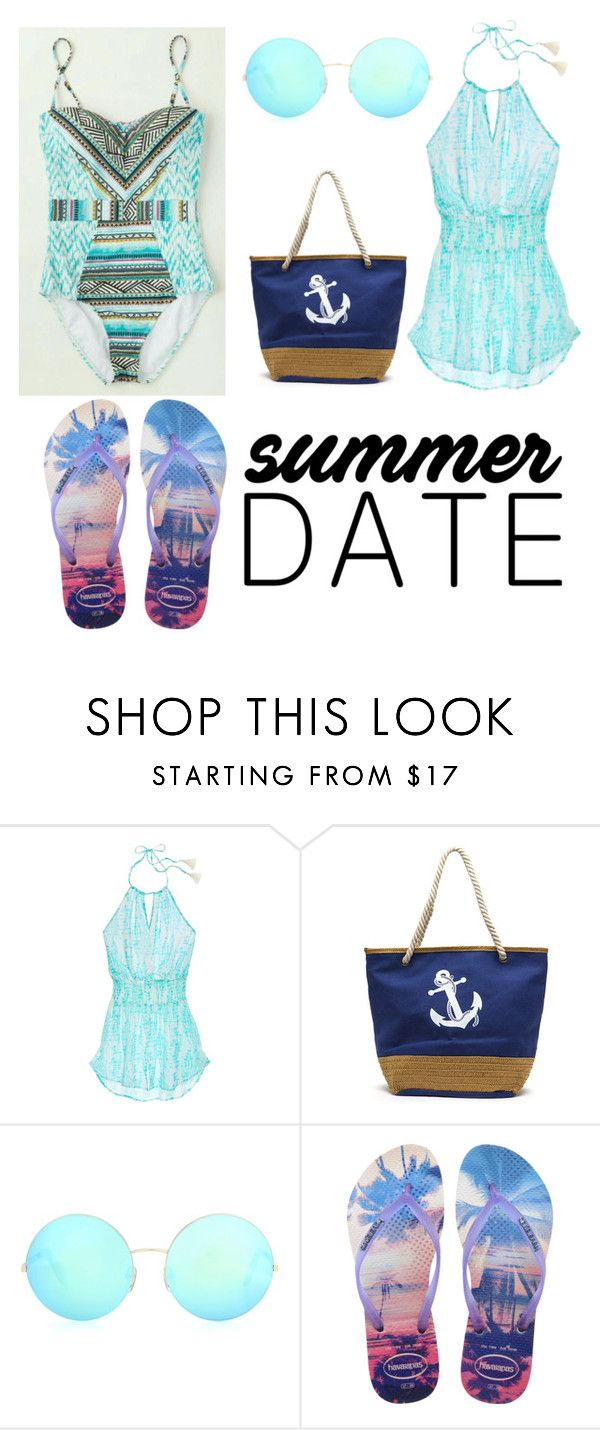 """""""Summer Date Outfit"""" by lisaepenedo ❤ liked on Polyvore featuring Victoria's Secret, Victoria Beckham, Havaianas, beach and summerdate"""