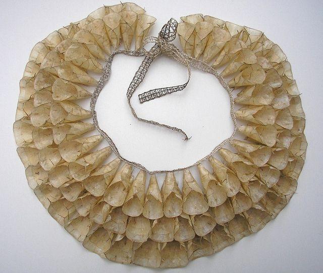 Honesty Collar    Grace de Berker, 2010. 'Honesty Collar'. Honesty Seed Pods, Silver thread.