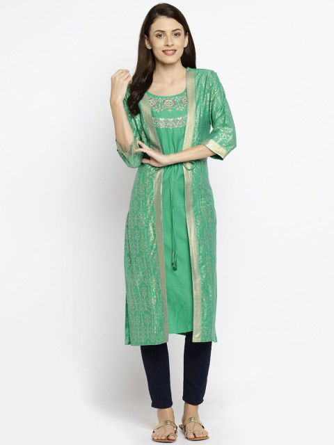 0679f74eb7d Buy RANGMANCH BY PANTALOONS Women Green Printed Straight Kurta - Kurtas for  Women 2066854