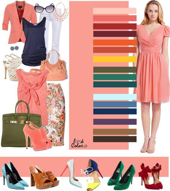Сочетание с персиковым цветом Розово-персиковый цвет прохладней предыдущих оттенков, он ближе к коралловому: весьма выразительный и более сдержанный, чем остальные. Этому оттенку могут отдать предпочтение «летний» и «зимний» цветотип. Менее взбалмошный оттенок персикового может более успешно подойти к офисному стилю или летне-деловому. Рассмотрите следующие сочетания персикового с оранжево-розовым, цветом лосось, красным цикорием, вишневым, морковным, медным, желто-оранжевым, хаки…