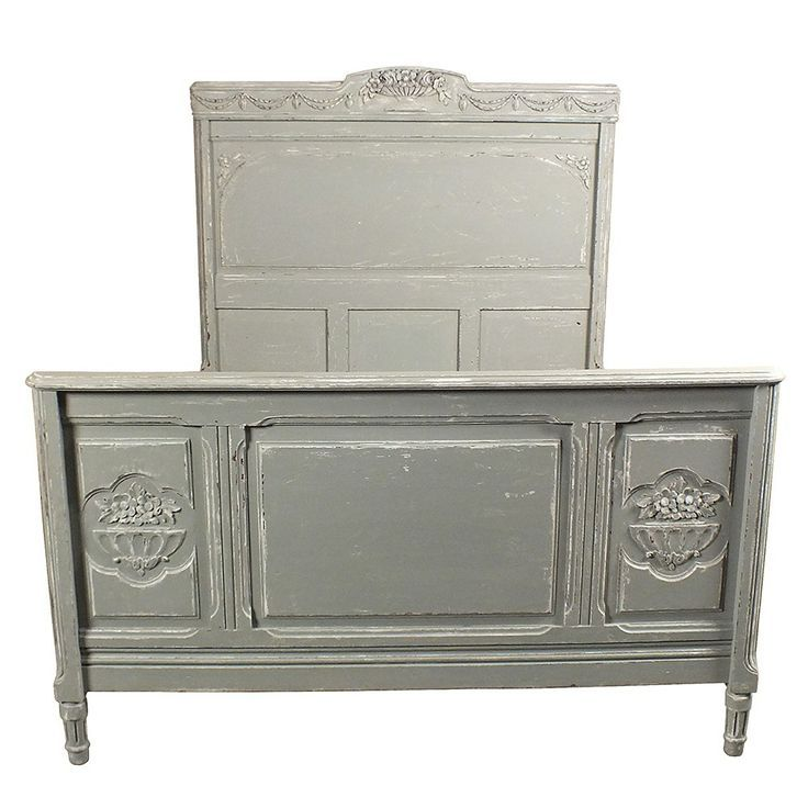 Lovely 1930 S Vintage Style Bed Frame Painted In Pale Gray With Distressed Finish Castleantiques