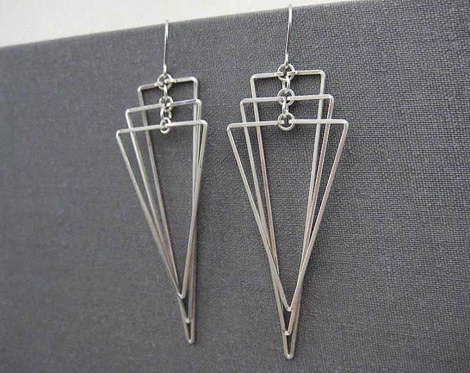 Art Deco orecchini - gioielli in argento lungo geometriche, matrimonio istruzione triangolo ventilatore, orecchini tagliente di insegnante di matematica - Tiered isoscele