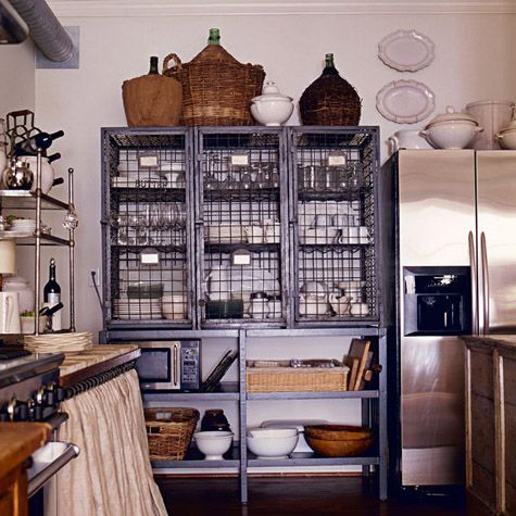 Industrial rustic farmhouse kitchens pinterest for Chicken wire kitchen cabinets