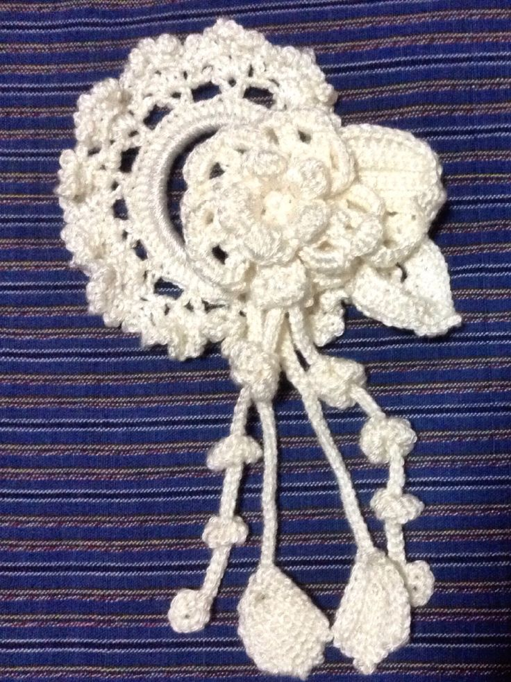 crochet hair scrunchies with applique flowers