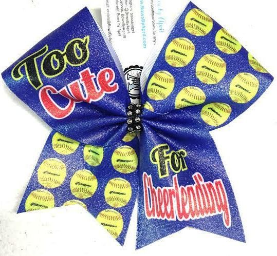 Bows by April - Too Cute for Cheerleading Glitter Softball Bow, $15.00 (http://www.bowsbyapril.com/too-cute-for-cheerleading-glitter-softball-bow/)