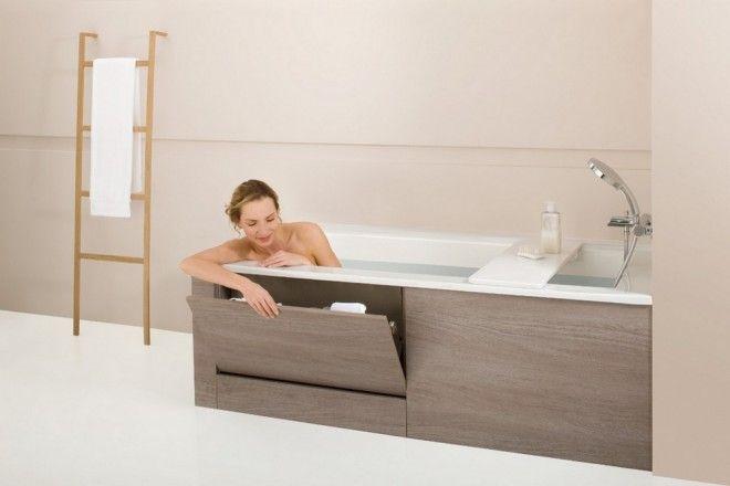встроенная мебель под ванну пример