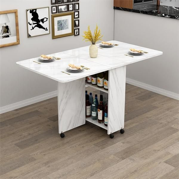 Wooden Storage Folding Dining Table With Wheels Hidden Gems In