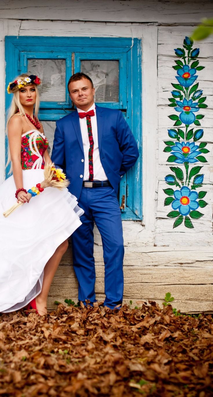 Polish Wedding Photo Shoot in Zalipie Painted Village, Poland