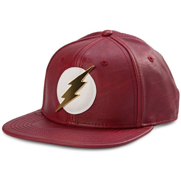 Bioworld Official- DC Comics Flash- Faux Leather Snapback Hat- One... ($25) ❤ liked on Polyvore featuring accessories, hats, faux leather hat, snapback hats, snap back hats and faux leather snapback