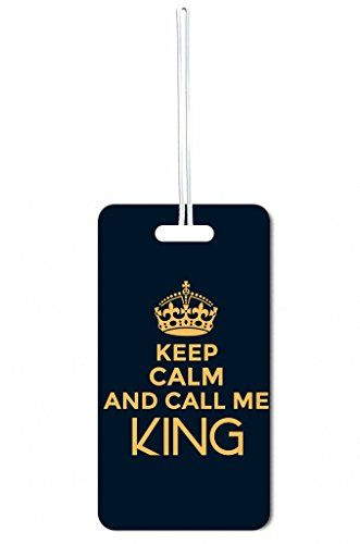 Luggage Tags Collections | Keep Calm And Call Me King Blue Max Wilder TM Set of 8 Luggage Tags with Customizable Back *** For more information, visit image link. Note:It is Affiliate Link to Amazon.