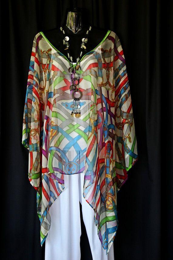 Silk Chiffon Kaftan Top by MollyKaftans on Etsy, $99.00